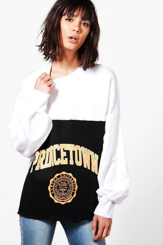 Eva Raw Edge Oversized  Slogan Sweat