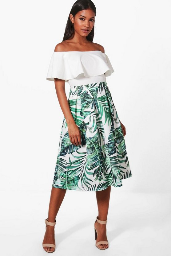 Alana Palm Print Box Pleat Skater Skirt