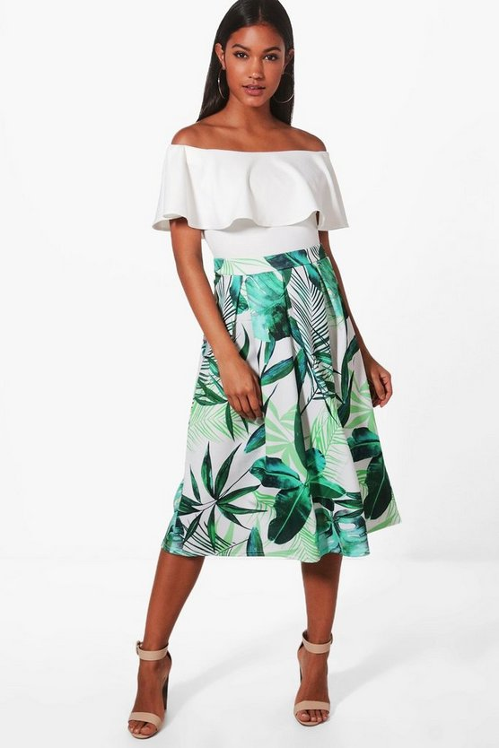 Neve Palm Print Box Pleat Skater Skirt
