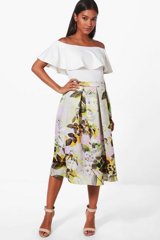Sala Summer Floral Box Pleat Skater Skirt