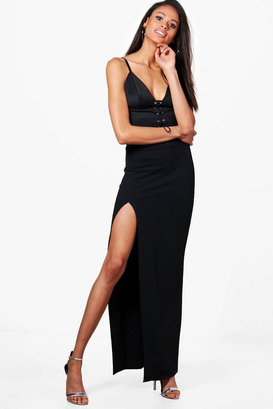 Lizbeth Thigh Split Crepe Maxi Skirt