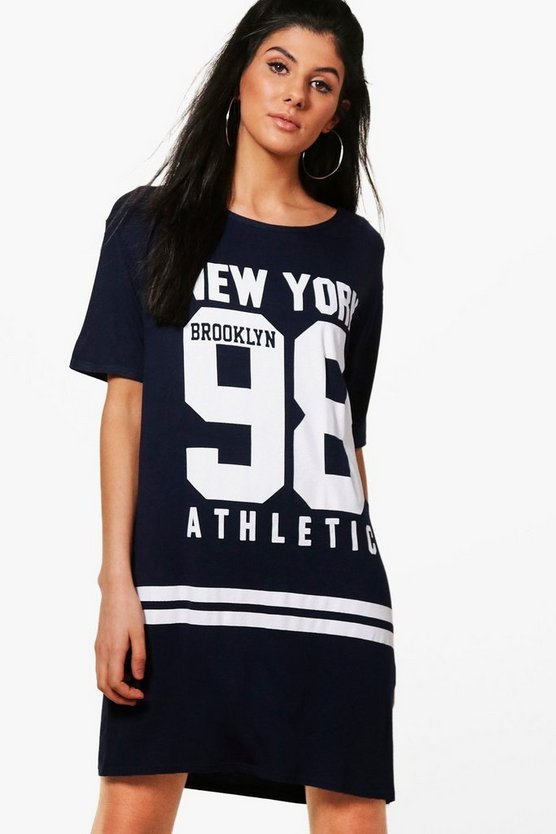 Alana Varsity Sports Printed T-Shirt Dress