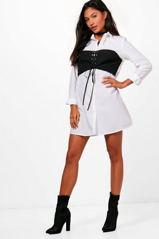 Bandeau Corset Belted Shirt Dress