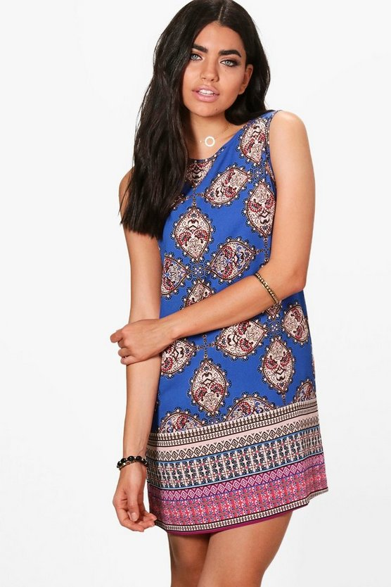 Holly Paisley Border Sleeveless Shift Dress