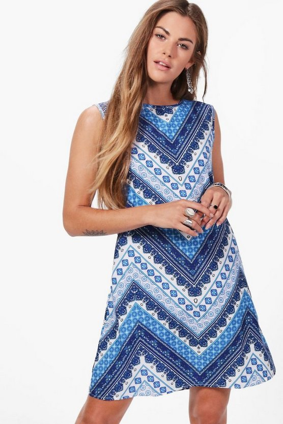 Kayla Scarf Print Shift Dress
