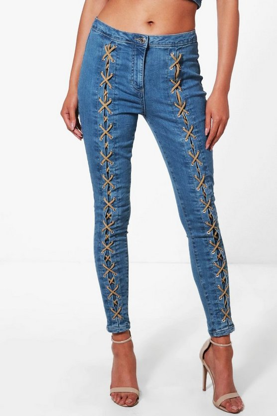 Petra Lace Up Front Skinny Jeans