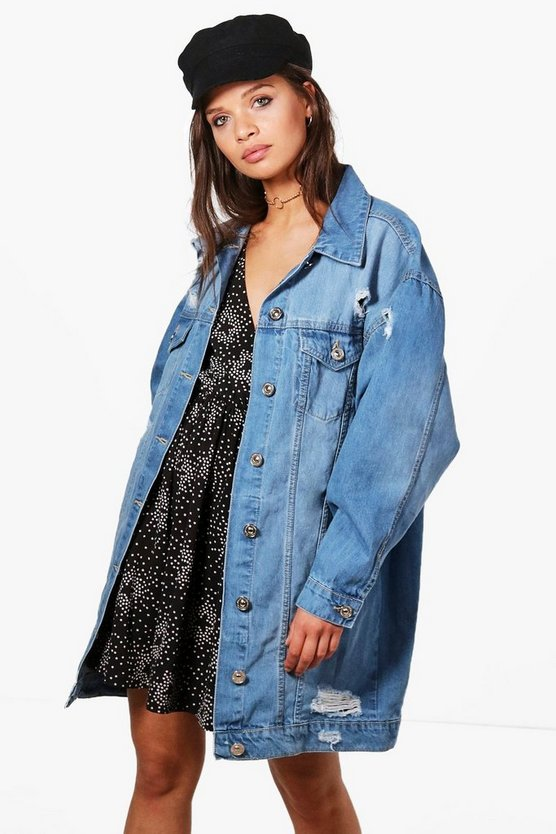 Peony Longline Distressed Denim Jacket