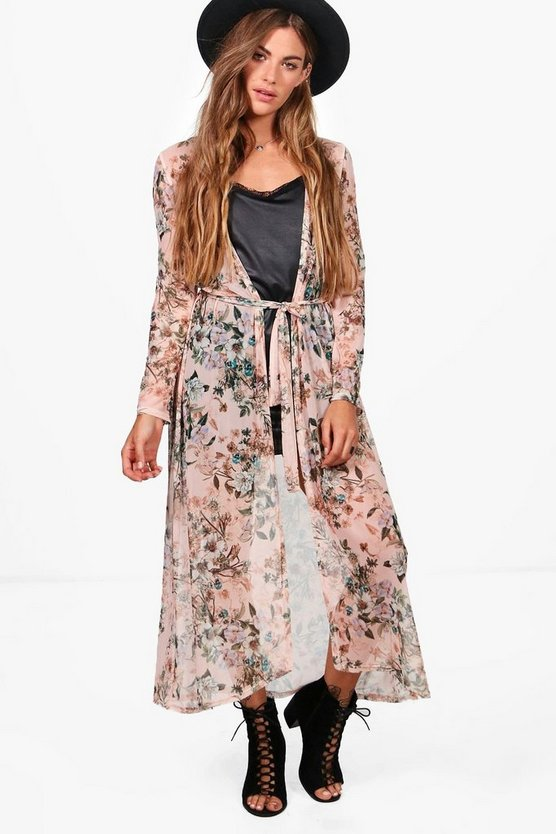 Zoe Floral Mesh Belted Kimono