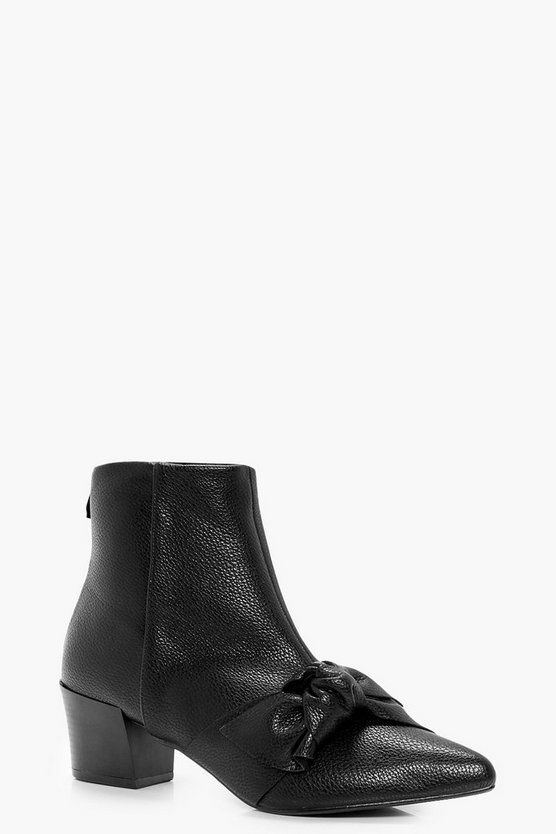 Zoe Bow Detail Block Heel Ankle Boot