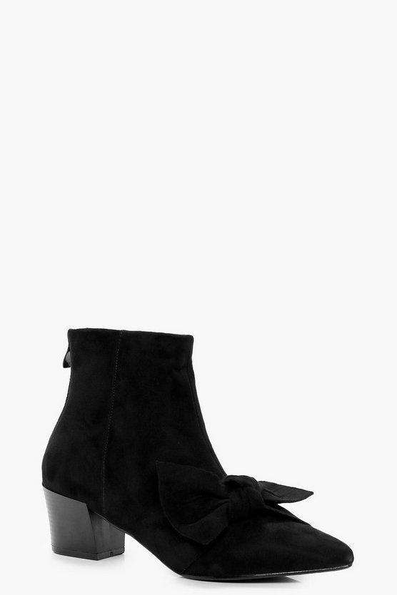 Heidi Bow Detail Block Heel Ankle Boot