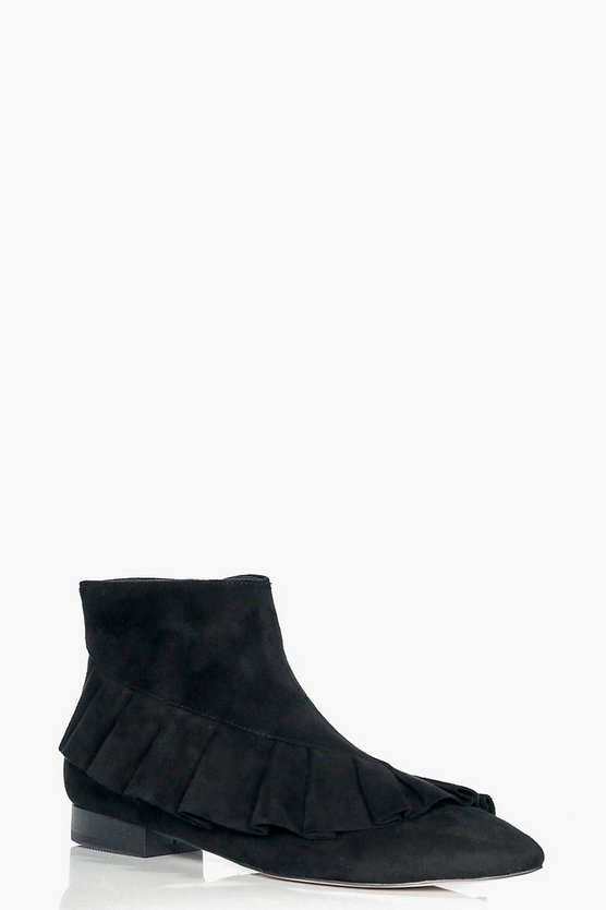 Frilled Pointed Ankle Boots
