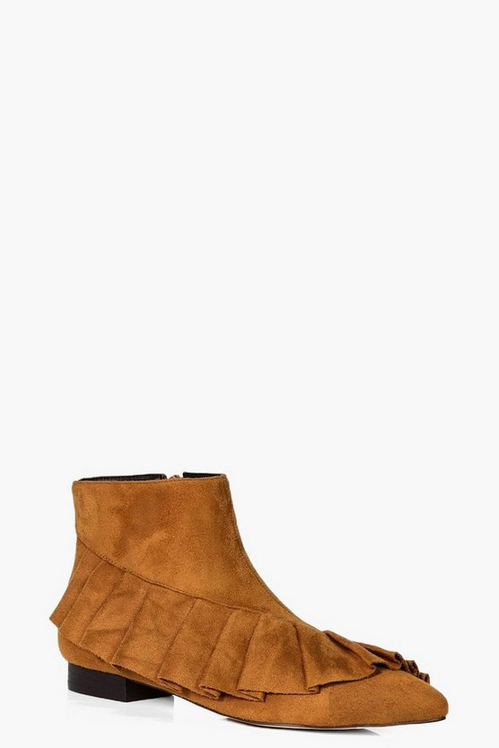 Amelia Frilled Pointed Ankle Boot