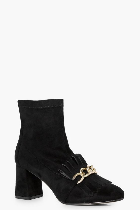 Harriet Fringe + Chain Detail Block Heel Boot