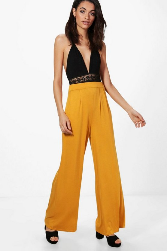 Emilia Jersey Wide Leg Floor Sweeping Trousers