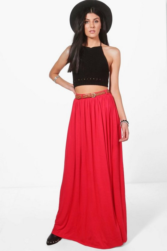 Kinsley Belted Floor Sweeping Maxi Skirt