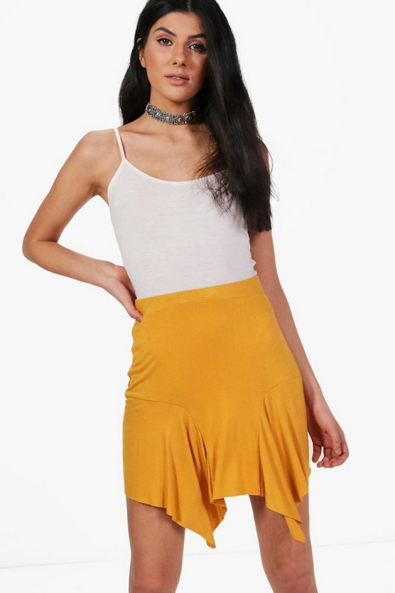 Lia Jersey Asymetric Hem Mini Skirt