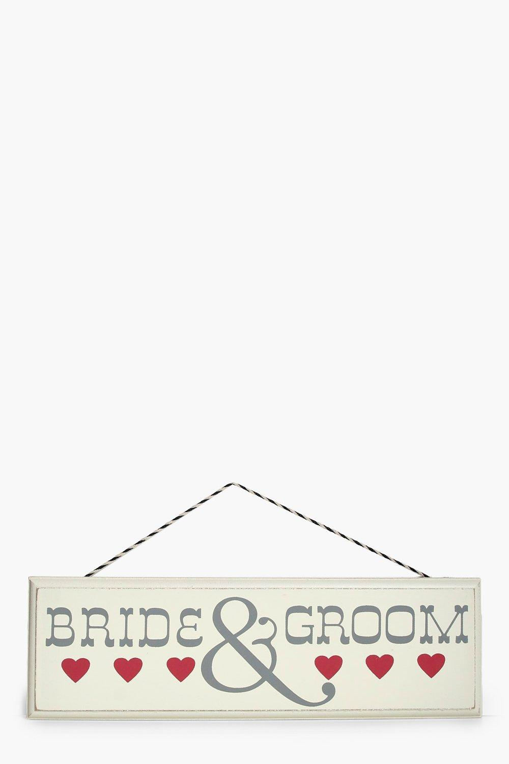 Bride & Groom Wooden Sign - cream