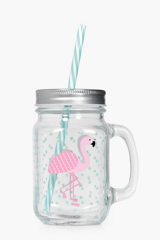 Tropical Flamingo Mason Jar