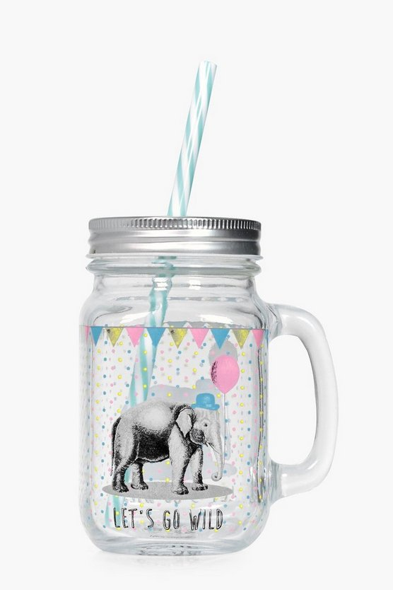 Party Animals Mason Jar With Straw