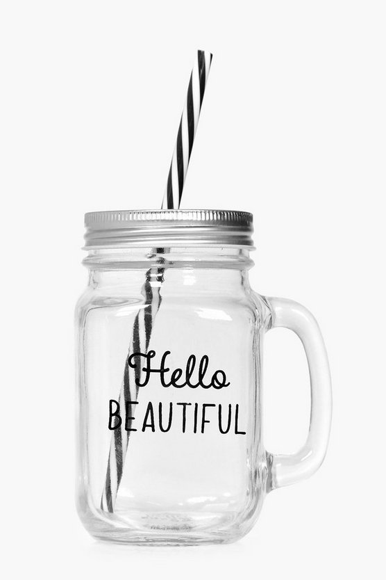 Hello Beautiful Mason Jar