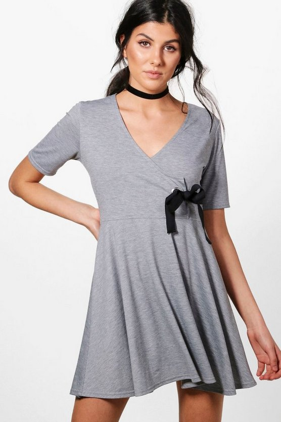 Sally Eyelet Detail Wrap Dress