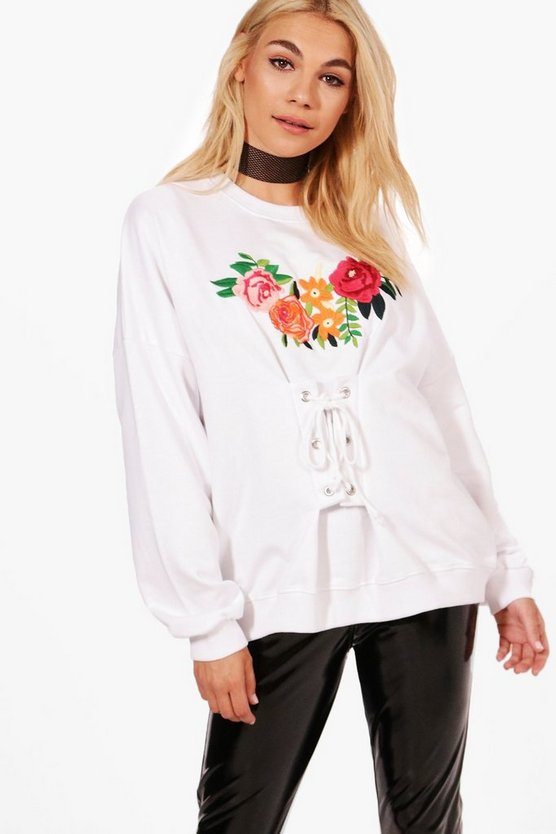 Jennie Premium Embroidered Lace Up Sweat