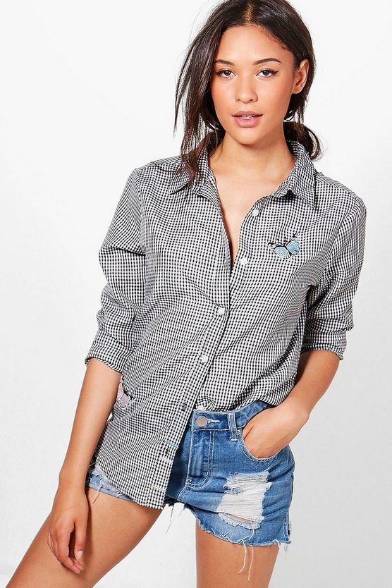 Jane Embroidered Gingham Shirt