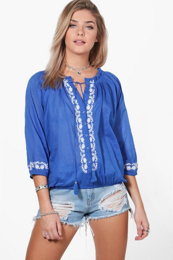 Leanne Woven Embroidered Top