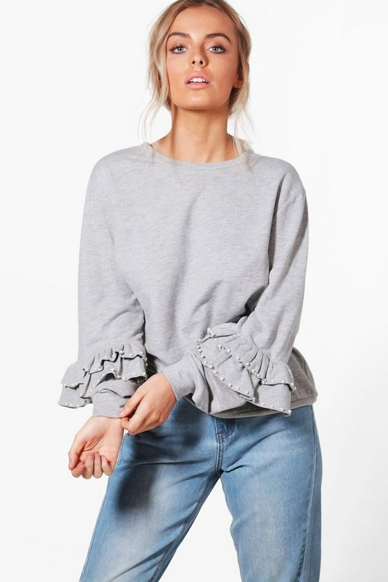 Keira Pearl Trim Ruffle Sweat