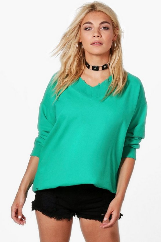 Anna Oversized V-Neck Sweatshirt