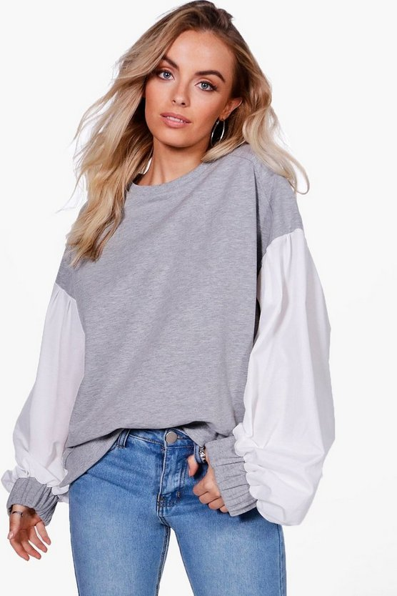 Heidi Balloon Sleeve Contrast Sweat