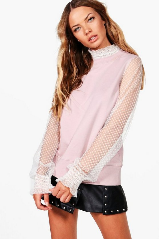 Sophie Mesh High Neck 2 In 1 Sweat