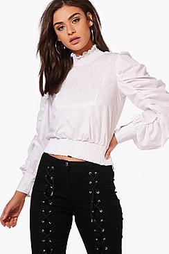 Freya Gesmokte, hochgeschlossene Bluse aus Webmaterial - Boohoo.com