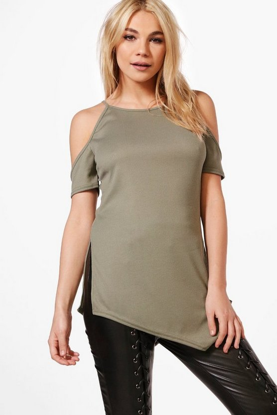 Daisy Cold Shoulder Side Split Rib Tee
