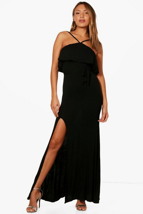 Lucy Ruffle Layer Tie Detail Maxi Dress