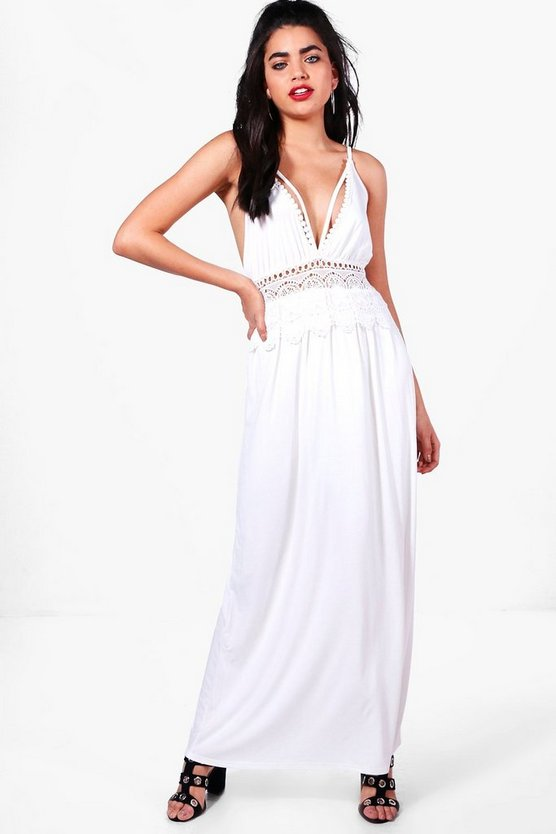 Lottie Crochet Waist Plunge Maxi Dress