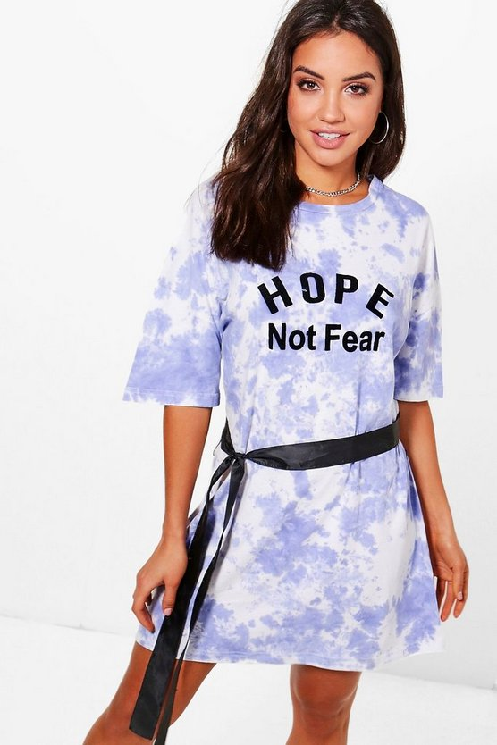 Tie Dye Slogan Belt T-Shirt Dress