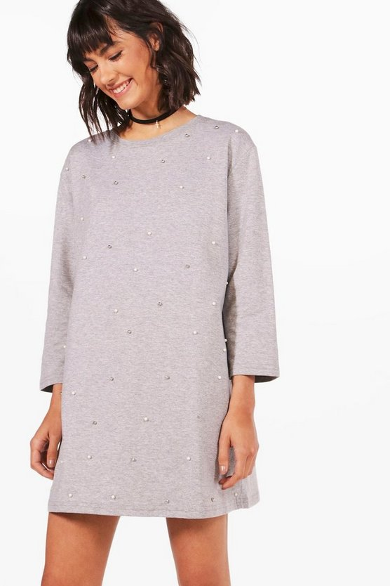 Erin Pearl Embellished Sweat Dress