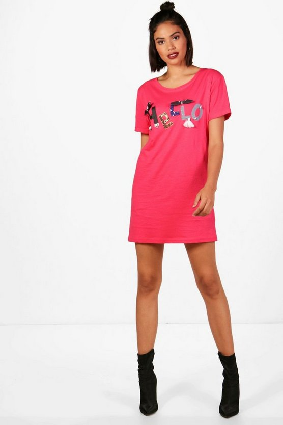 Maya Hello Embroidered Embellished T-Shirt Dress