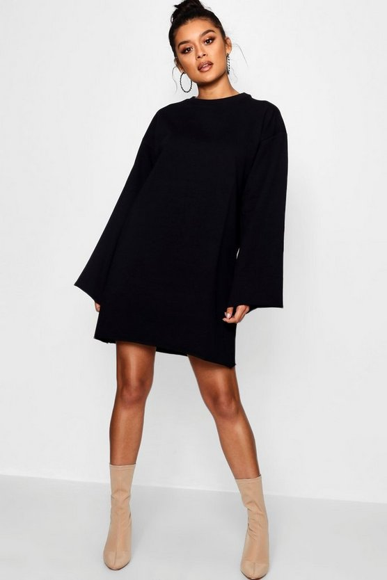 Wide Sleeve Raw Edge Sweat Dress