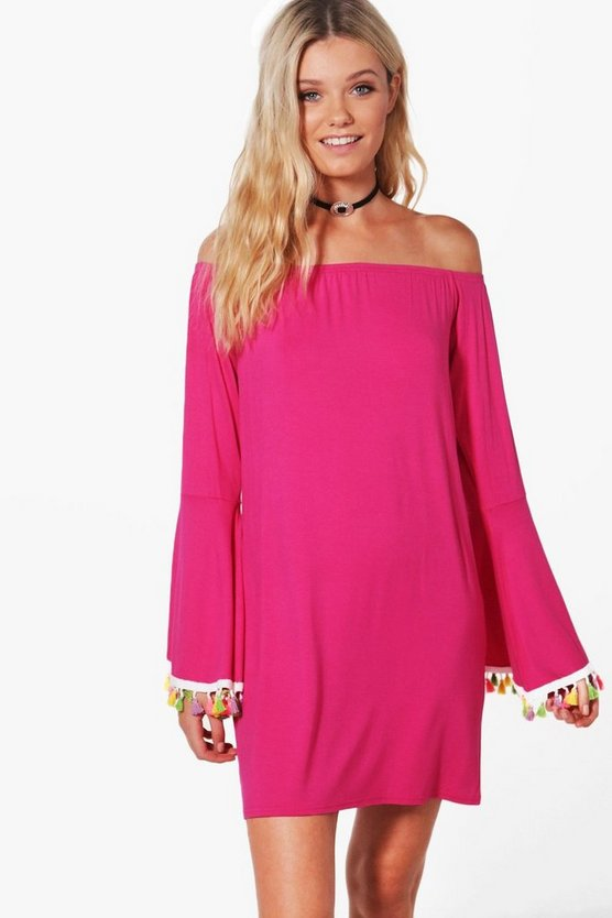Cara Off The Shoulder Tassel Trim Dress