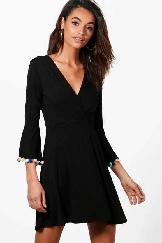 Tracie Pom Pom Detail Wrap Skater Dress