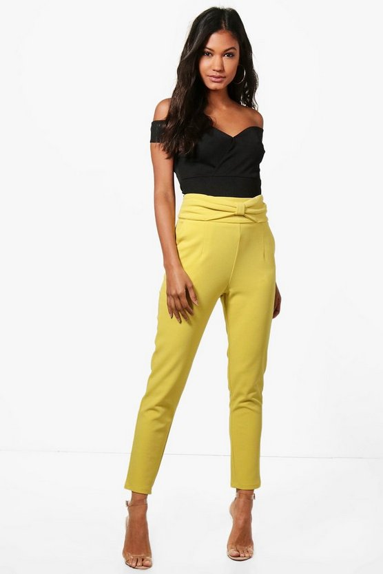 Bow Waist Stretch Skinny Trousers