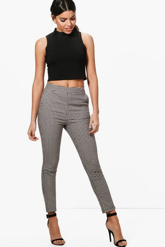 Jade Woven Gingham Slim Fit Trousers