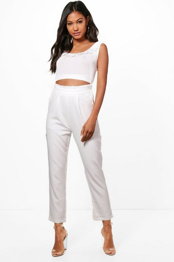 Olivia Woven Ruffle Detail Slim Tie Trousers