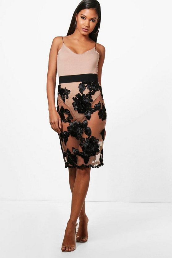 Bea Boutique Mesh Embroidered Midi Skirt