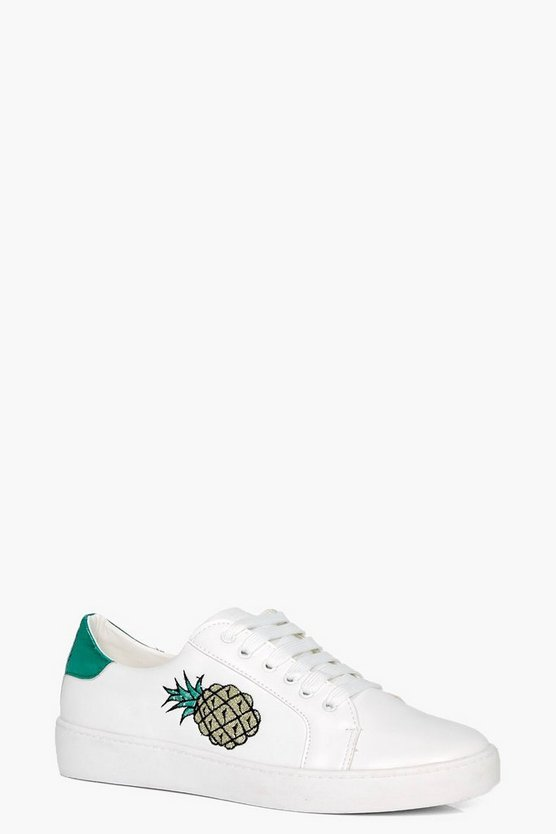 Emma Pineapple Embroidered Trainer
