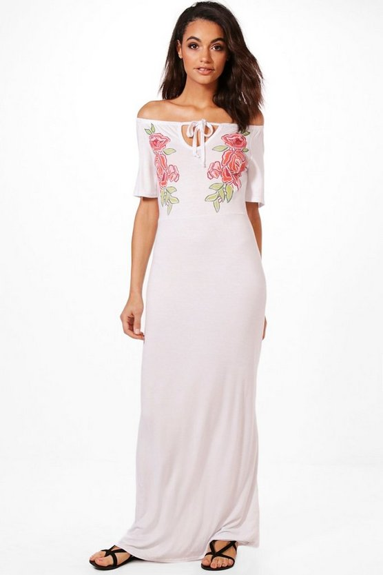 Becky Floral Off The Shoulder Maxi Dress