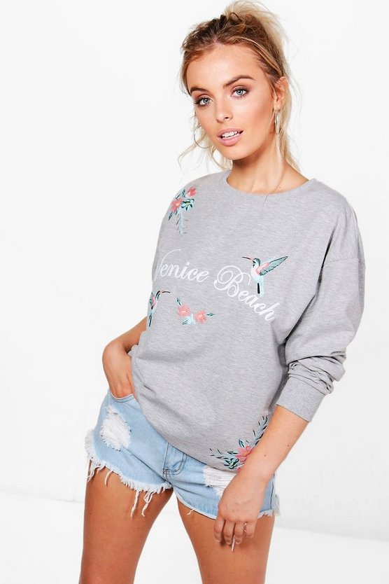 Martha Embroidered Slogan Sweat