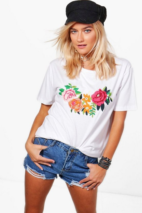 Hayley Embroidered Oversized Tee